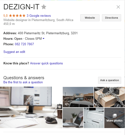 DEZIGN-IT Google my business page