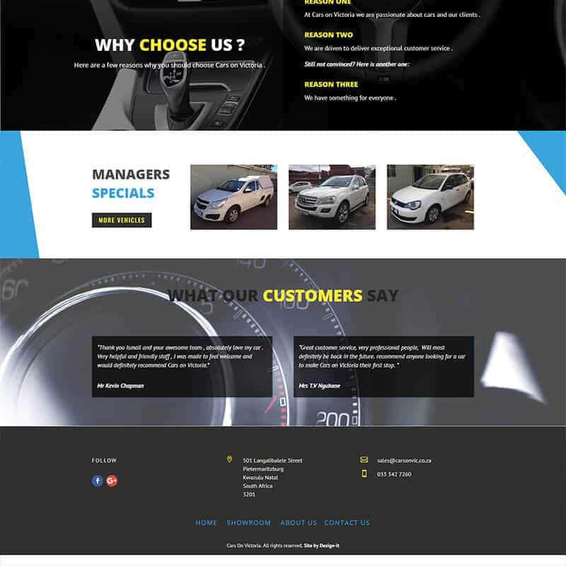 Web Design for Cars On Victoria