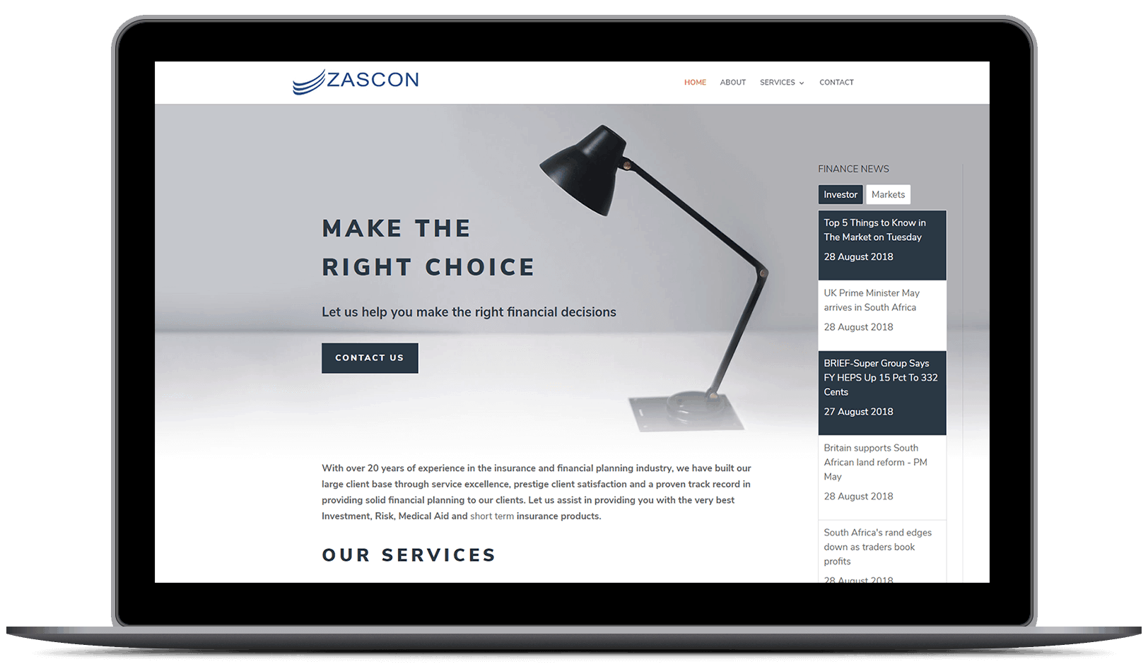 Web Design for Zascon Financial Services by DEZIGN-IT